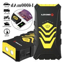 14000mAh 600A Car Jump Starter Booster Clamp USB Battery Cha