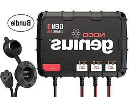 NOCO Genius GEN3 30 Amp 3-Bank Waterproof Smart On-Board Bat