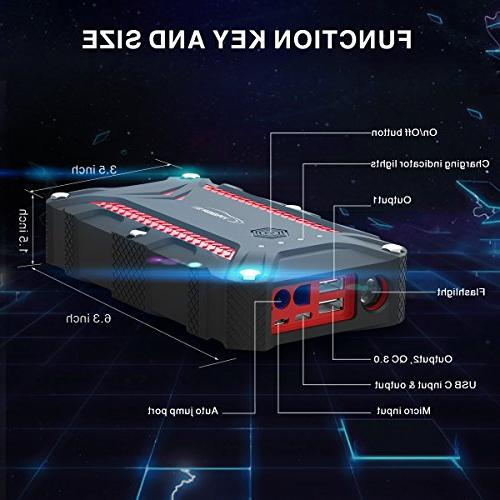 1200A Portable Battery IP68 15000mAh Booster Pack 3.0 Built-in LED Flashlight