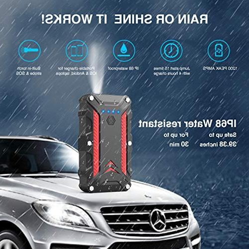 1200A Waterproof Battery IP68 15000mAh Auto Booster Power Pack with 3.0 Smart Built-in