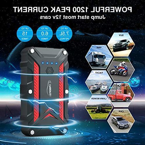 1200A Waterproof Battery Jump IP68 Booster Built-in Flashlight