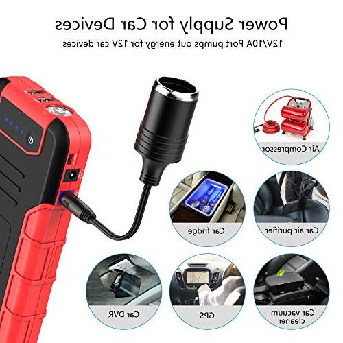iClever Car Starter 12V Booster with Portable Power QC3.0 Charging Ports, Flashlight