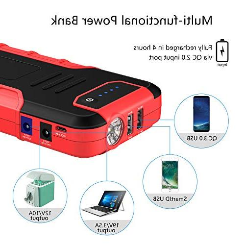 iClever 1300A Peak 18000mAh Car Jump Starter 12V Booster Smart Portable Power QC3.0 Flashlight