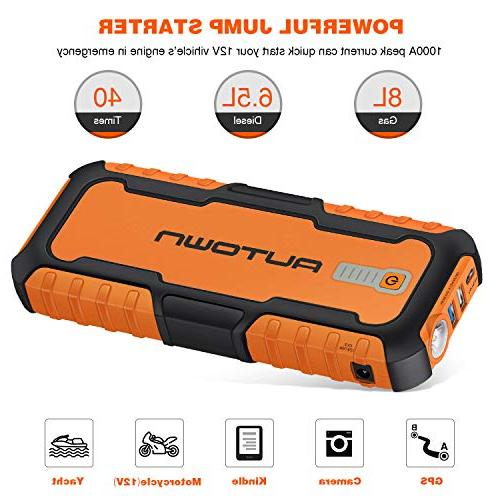 AUTOWN 1000A Portable Jump Starter - 12V Auto with Bank Battery Jump