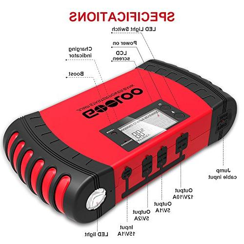 GOOLOO 800A 18000mAh Car Jump Starter Phone Charger Booster LED Protection