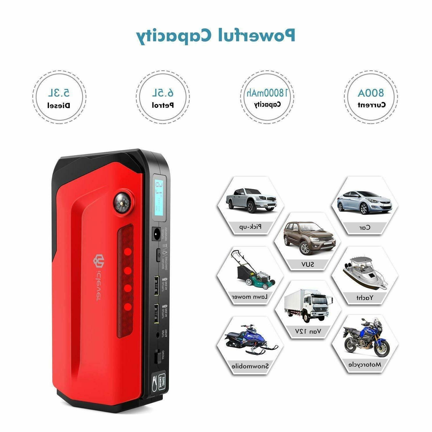 iClever Portable Jump Starter Auto Battery