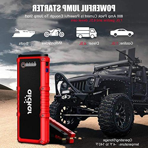 aickar Peak Jump Starter Portable Battery Bank, Built-in LED Flashlight with Jumper Cables Heavy