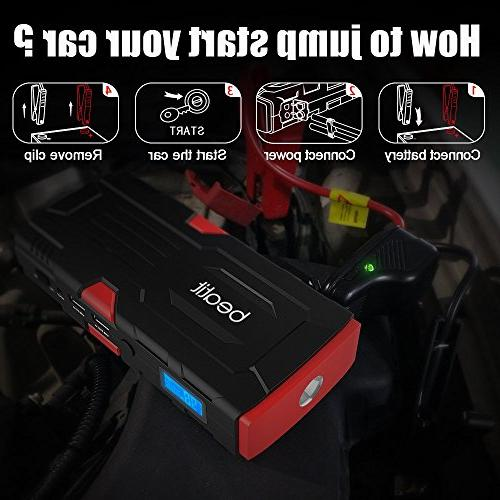 Beatit 800A Peak 18000mAh Jump Starter Jumper Cables Booster Power
