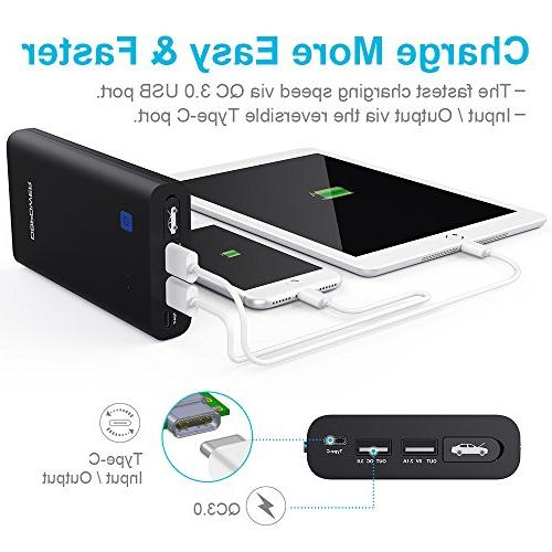 DBPOWER 10800mAh Portable Car Auto Phone Charger with QC3.0, Type-C