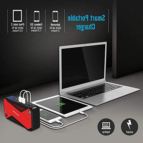 Portable Jump Starter Portable Smart Charging Compass, LCD Screen & Flashlight