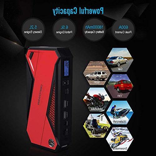 DBPOWER 600A Peak Portable Car Smart LCD & LED Flashlight