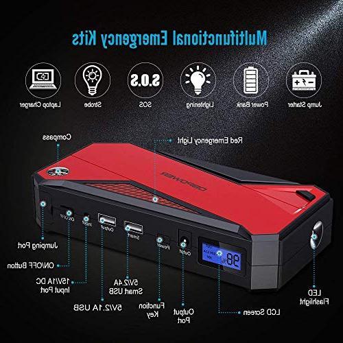 Portable Car Jump Portable Smart LCD Screen & LED Flashlight