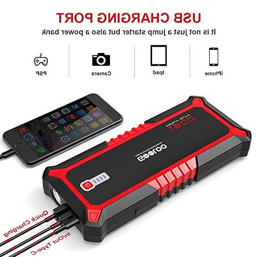 GOOLOO Car Jump Starter Charge Battery Delivery 15W In Phone Built-in Light