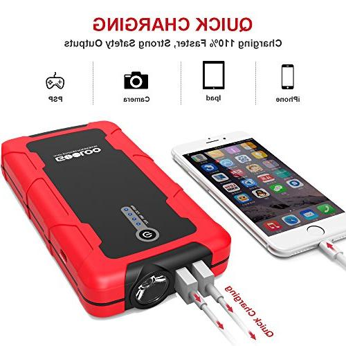 GOOLOO Portable Power Battery Phone Charger with Dual Quick 3.0 Input Built LED