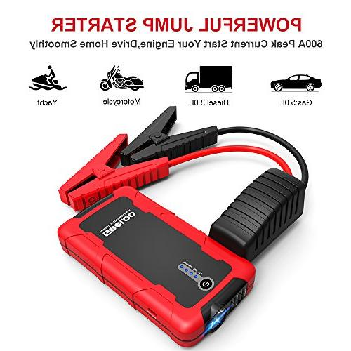 GOOLOO Peak Car Starter Portable Pack Auto Battery Phone with Dual 3.0 & Output, Built LED Light