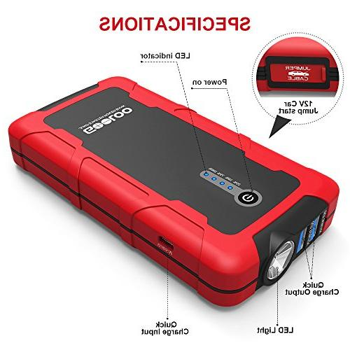 GOOLOO Portable Power Pack Battery Charger with Quick Charge 3.0 Output, Built in