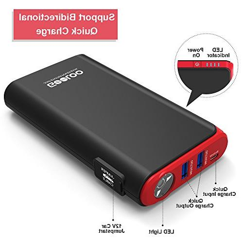 GOOLOO Quick & 500A Power 12V Battery Booster Phone Charger, LED Black/Red