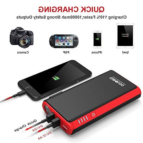 GOOLOO Quick & 500A SuperSafe Car Power Pack Battery Booster Phone Charger, Black/Red