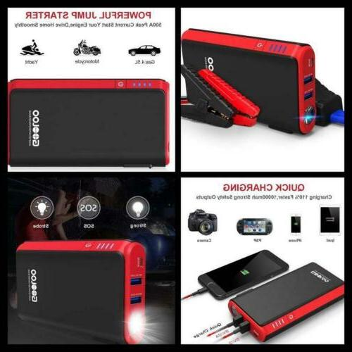 GOOLOO & SuperSafe Car Jump Power 12V Auto Battery Booster Charger, Built-in LED Light, Black/Red