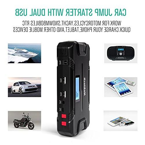 Nekteck Car Jump Starter Portable Battery 500A Peak with 12000mAh - Jump Auto for Boat USB Device and