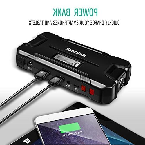 Nekteck Portable Bank Battery Charger 500A Peak with Emergency Jump Auto for Van Boat Smartphone
