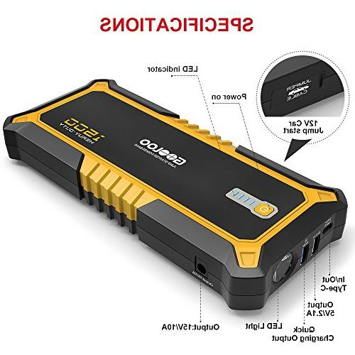 GOOLOO SuperSafe Car Jump Starter Quick 3.0 Battery Booster Power Delivery 60W Type-C Portable Phone with USB Ports