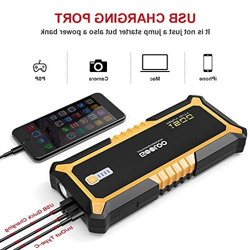 SuperSafe Jump Quick Charge Auto Battery Booster Power Power Delivery USB Type-C Phone Charger with