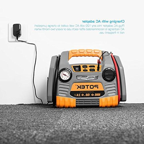 POTEK Car with 150 PSI Inflator/Air compressor,1000 Amps USB to Charge Iphone,IPad, Kindle