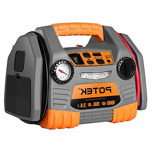 POTEK Car Jump Starter with 150 PSI Tire Inflator/Air compre
