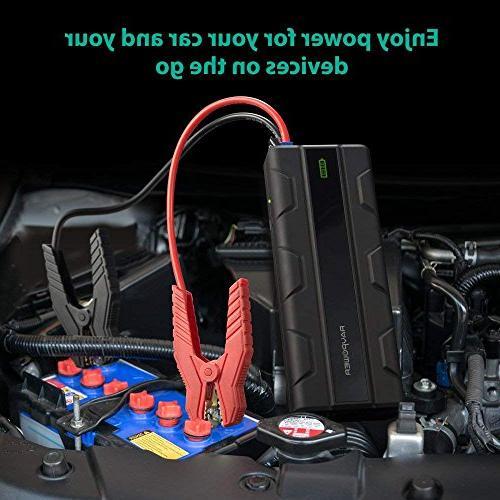 Car Starter RAVPower 1000A Peak Charge 12V Power Bank iSmart Ports Flashlight Battery Booster