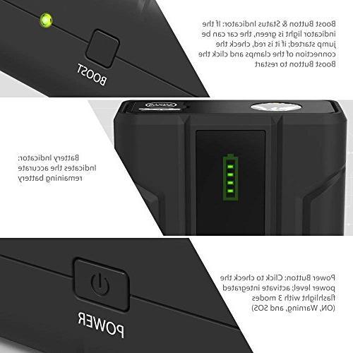 Car Starter 1000A Peak Quick Charge 3.0 12V Power Bank iSmart LED Flashlight Battery Booster