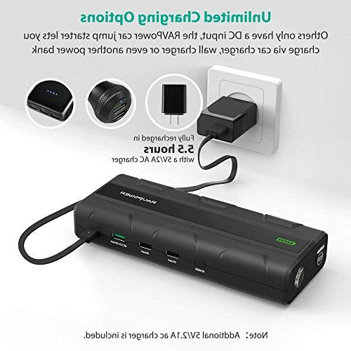 Car 1000A Peak Quick Charge 3.0 12V 14000mAh Power Bank iSmart LED Flashlight Car Battery
