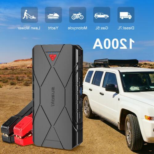 car jump starter 1200a peak portable battery