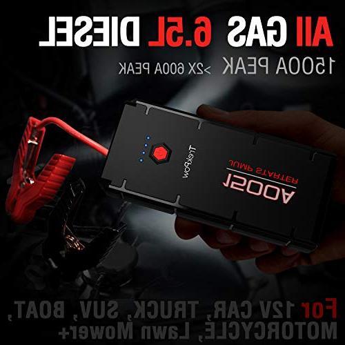 Car Jump Peak ABOX 12V Auto Battery Power Pack Jumper Gasoline/6.5L Engine, Type-C