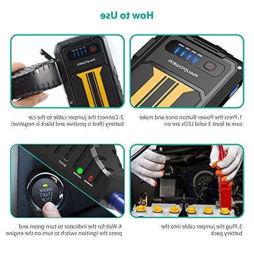 Car Starter RAVPower 300A Current Charge Portable External Battery Power 8000mAh Battery Booster,