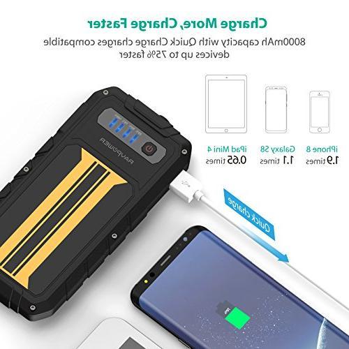Car Starter 300A Charge Portable Jumper External Battery Power Pack 8000mAh Battery Booster, Built-in Flashlight