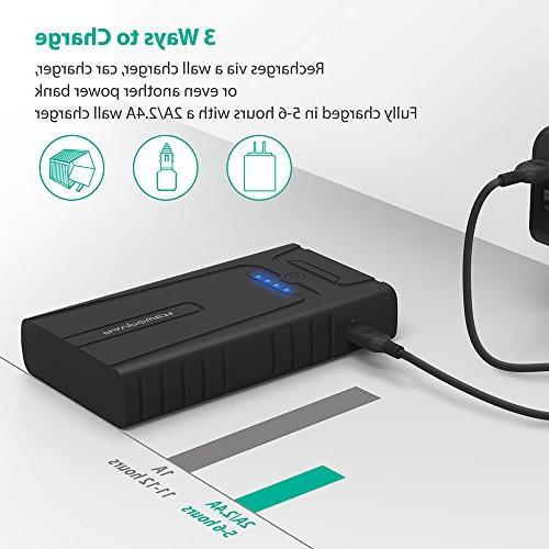 RAVPower 10000mAh Portable Charger with for Gasoline Engines, Auto Battery Booster Power Pack and