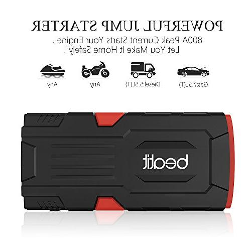 Beatit 18000mAh 12V Portable Jump Starter with Jumper Cables Auto Booster Power Pack
