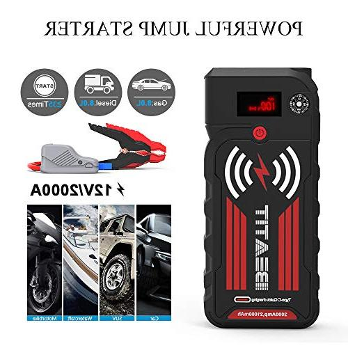 Beatit G18 Wireless Charger 2000A Peak 8.0L and 8.0L Diesel 12V Portable Car Jump Starter Battery with Jumper