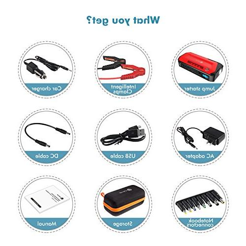 Portable Jump Starter Battery Booster, Portable Pack LED Compass