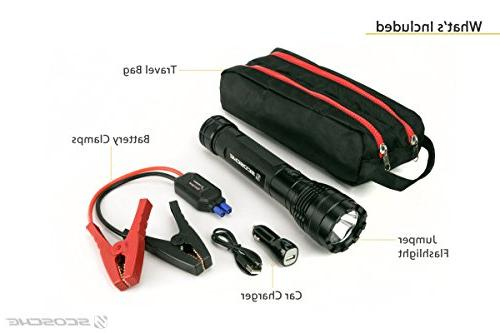 SCOSCHE PowerUp Torch Portable Flashlight and Starter 400A Battery USB in and Vehicles or