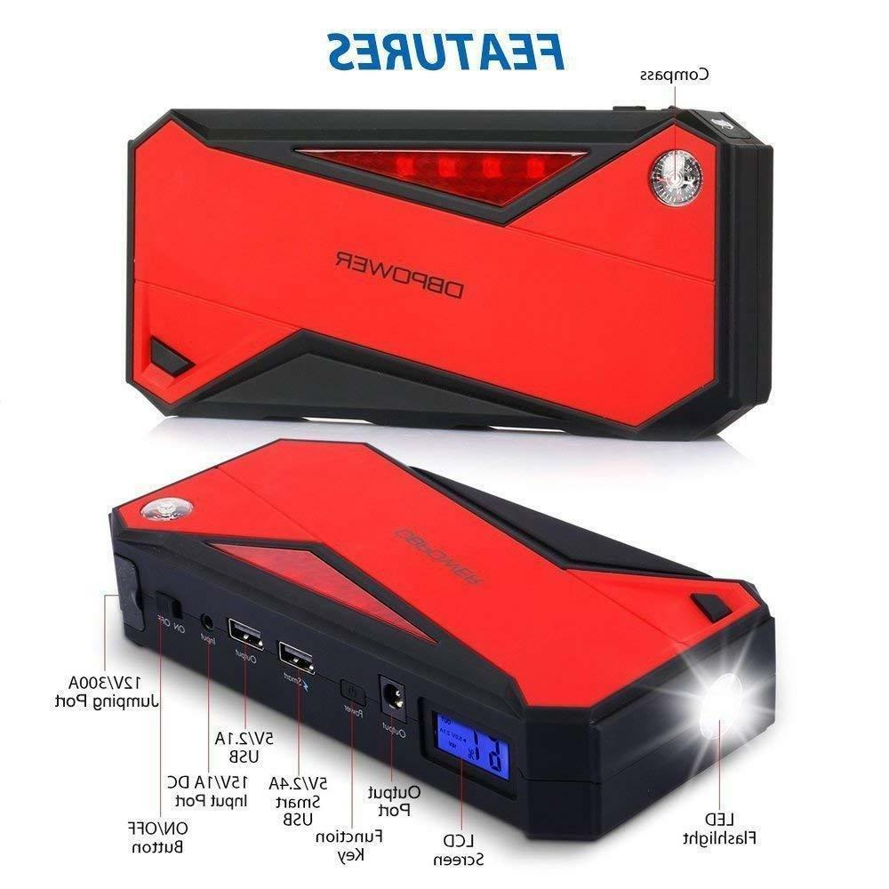 DBPower Portable Car Jump Starter 600a Battery Booster Port