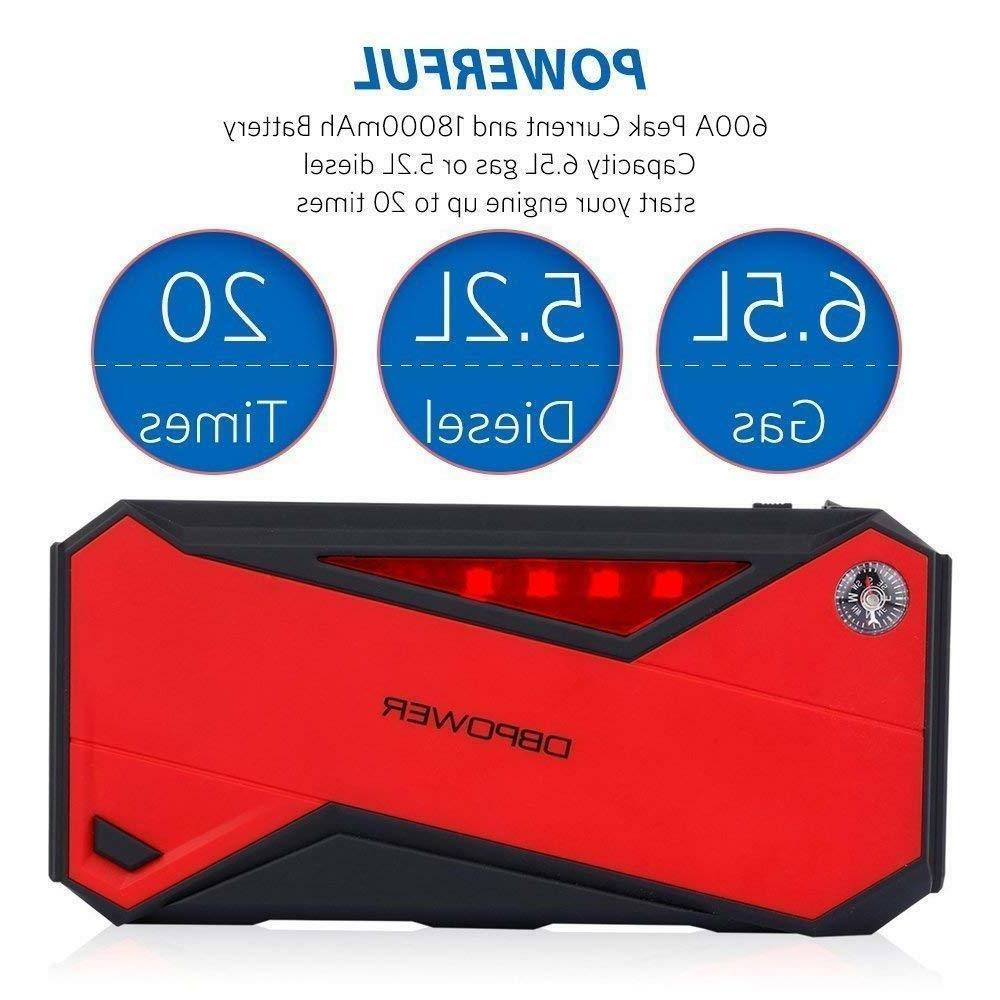 DBPower Portable Starter 600a 18000mah Battery Booster USB