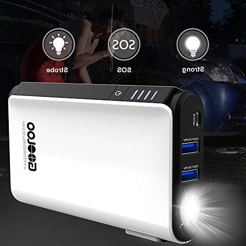 GOOLOO Quick Charge & 500A SuperSafe Starter Power Auto Battery Booster Portable Phone Charger, Built-in LED Light, Black/White