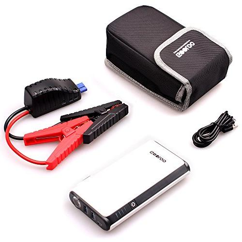 GOOLOO Quick Charge & Out, 500A SuperSafe Power Pack Battery Booster Phone Charger, Light, Black/White