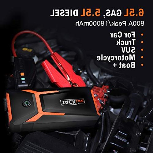 TACKLIFE Starter - Peak 18000mAh, Battery Booster , Portable Power Pack Smart Jumper &