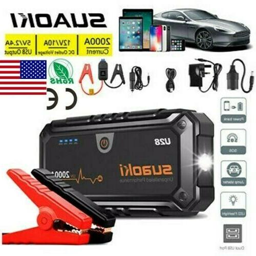SUAOKI Car Jump Starter 2000A Peak 12V Portable Battery Boos