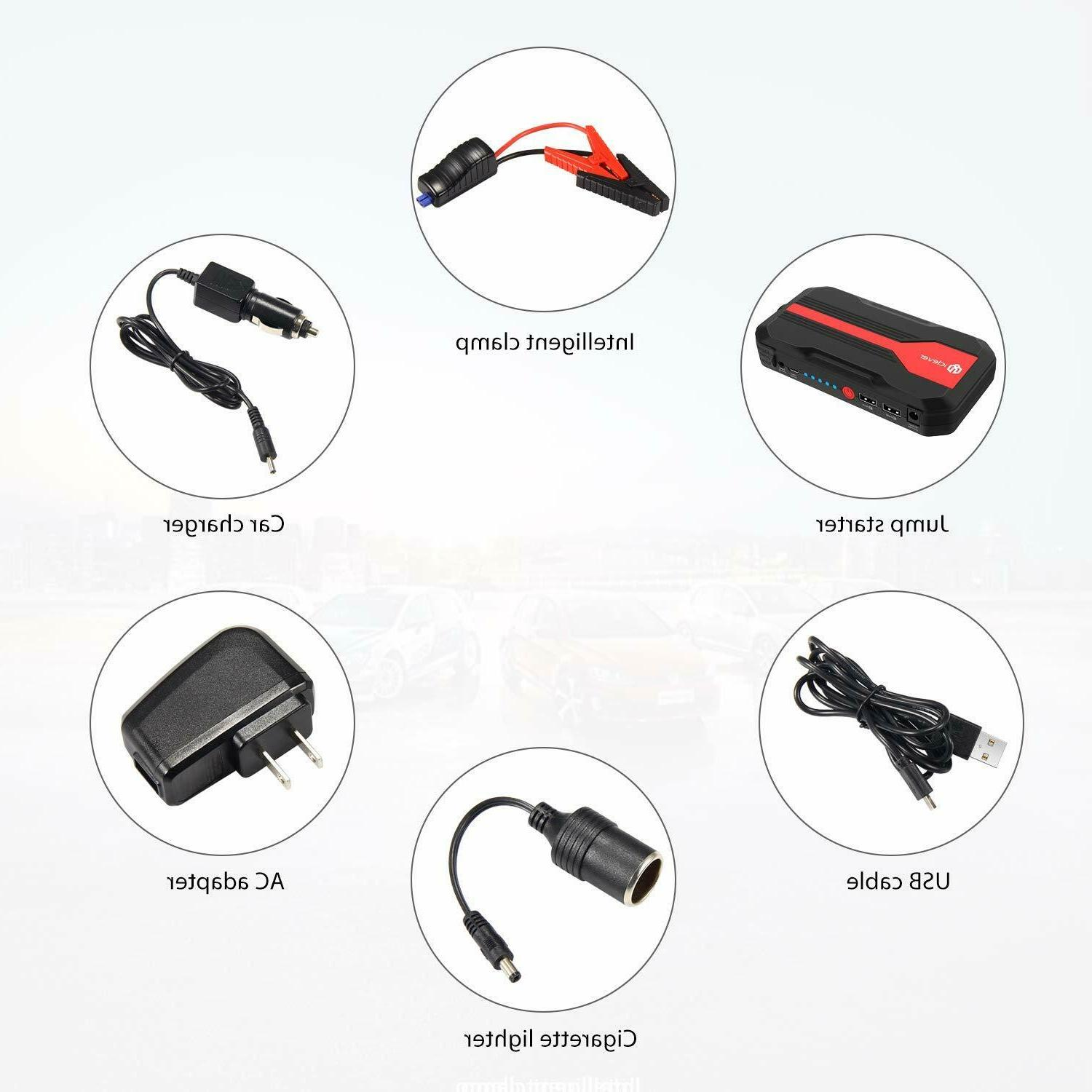 iClever Ultra Portable Starter, 600A Peak 13600mah Car Battery Charger