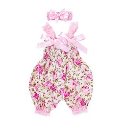 0-12 Months Toddler Baby Boys Girls Clothes Floral Romper Bo